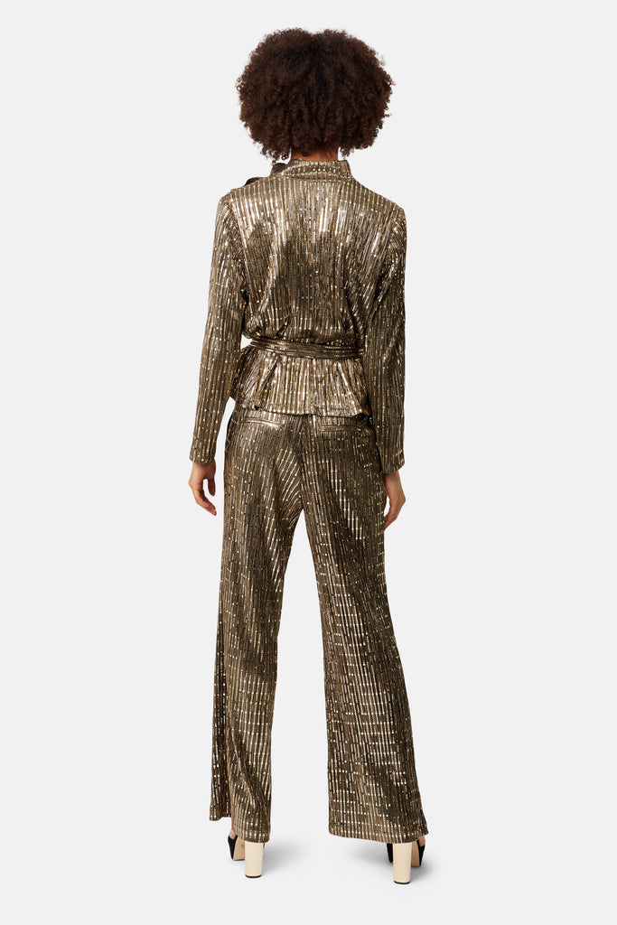 Traffic People MacArthur Park Straight Leg Sequin Trousers in Bronze Close Up Image