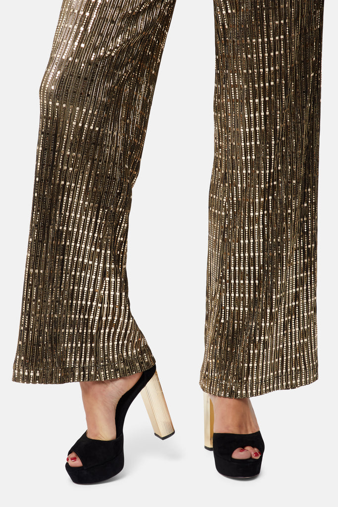 Traffic People MacArthur Park Straight Leg Sequin Trousers in Bronze Side View Image