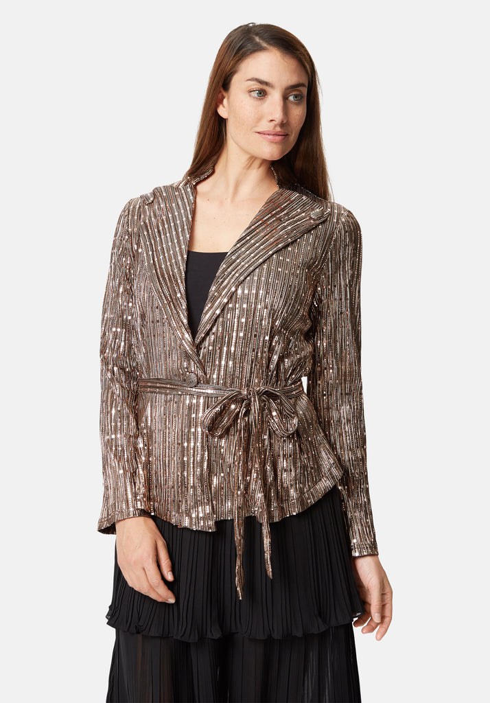 Traffic People Colby Metallic Long Sleeve Suit Jacket in Gold Close Up Image