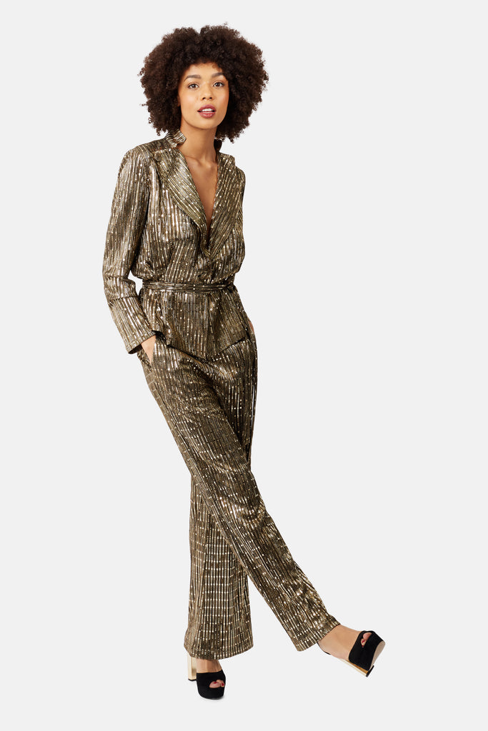 MacArthur Park Straight Leg Sequin Trousers in Bronze