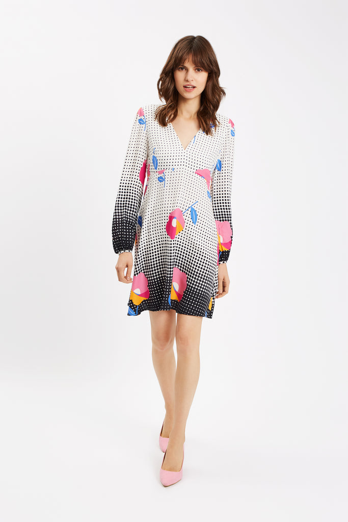 Traffic People Mia Floral Long Sleeve Mini Dress in Multi Front View Image