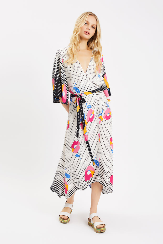 Traffic People Mary Mary Wrap Dress in Multi Front View Image