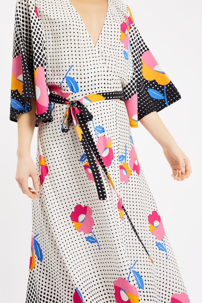 Traffic People Mary Mary Wrap Dress in Multi Back View Image