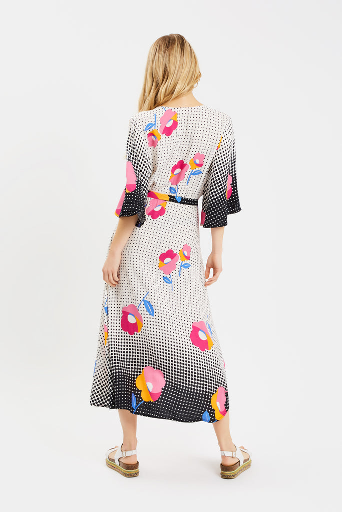 Traffic People Mary Mary Wrap Dress in Multi Close Up Image