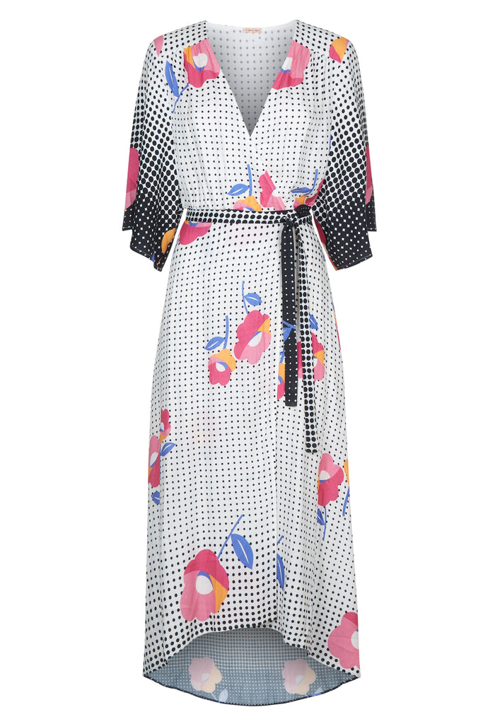Traffic People Mary Mary Floral Maxi Wrap Dress in Multi FlatShot Image