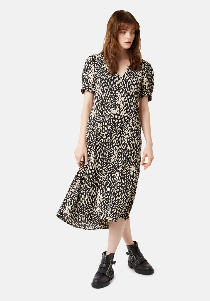 Traffic People Mia Abstract Polka Dot Midi Dress in Black Front View Image