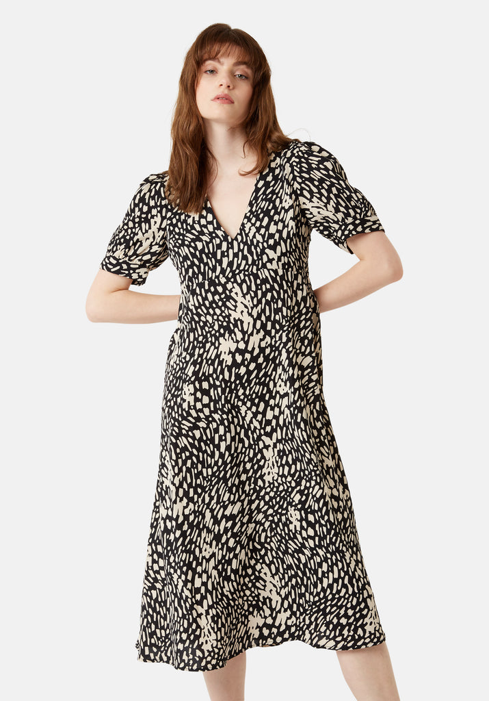 Traffic People Mia Abstract Polka Dot Midi Dress in Black Back View Image