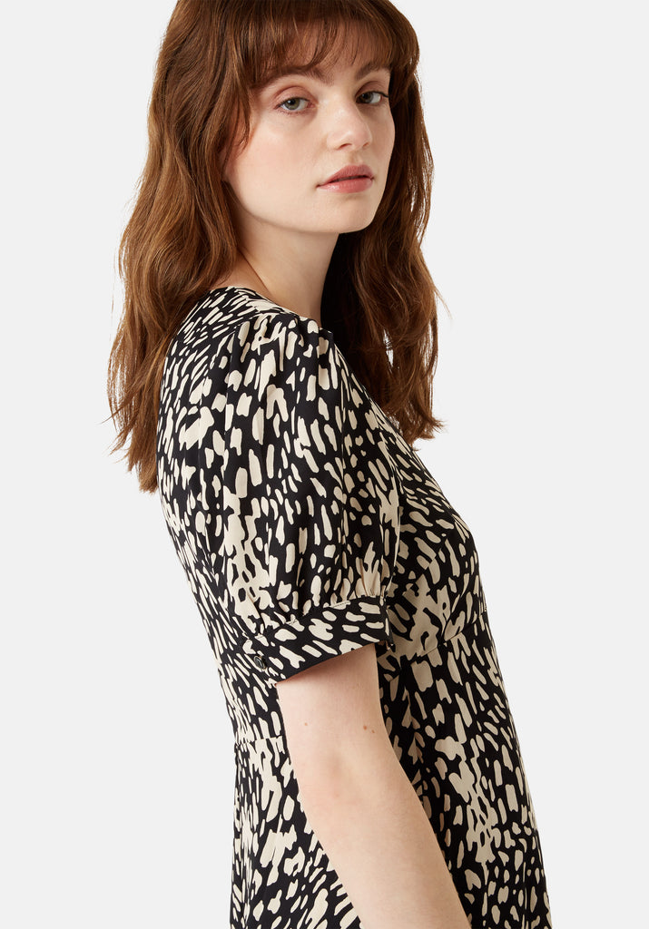 Traffic People Mia Abstract Polka Dot Midi Dress in Black Close Up Image