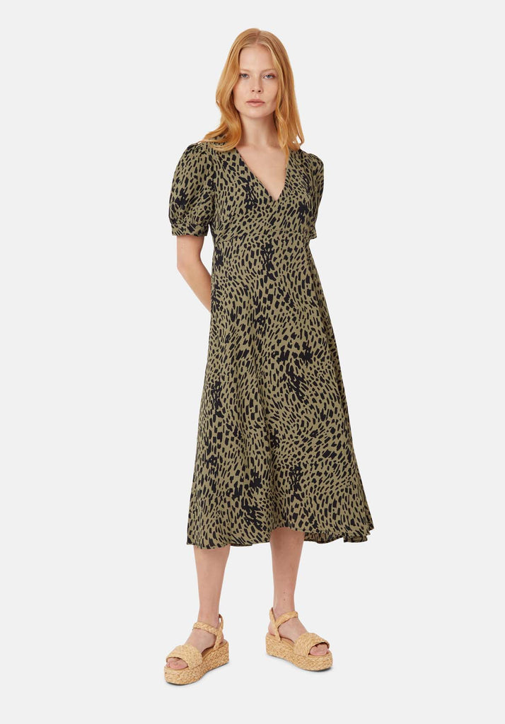 Traffic People Mia Polka Dot Midi Dress in Green Front View Image