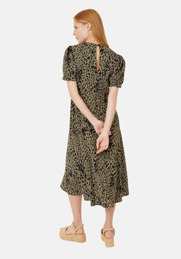 Traffic People Mia Polka Dot Midi Dress in Green Side View Image