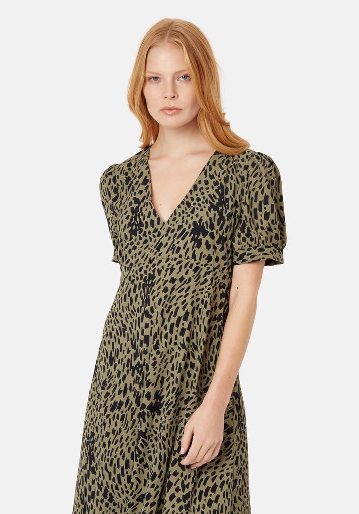Traffic People Mia Polka Dot Midi Dress in Green Back View Image