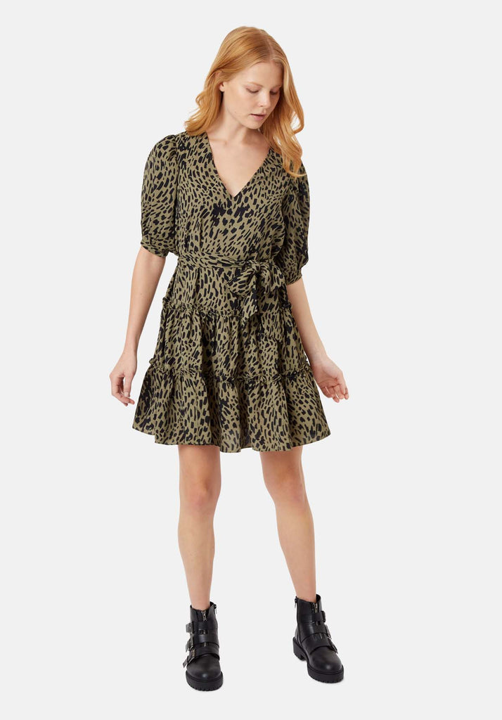 Traffic People Felicitous Abstract Polka Dot Mini Dress in Green Front View Image