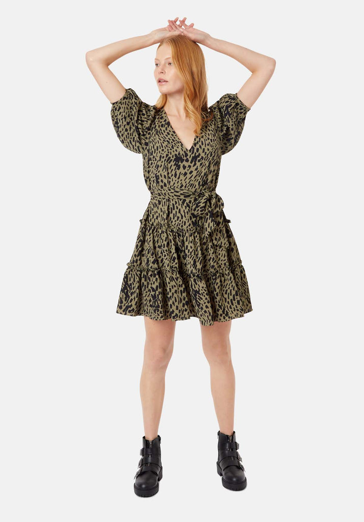 Felicitous Abstract Polka Dot Mini Dress in Green