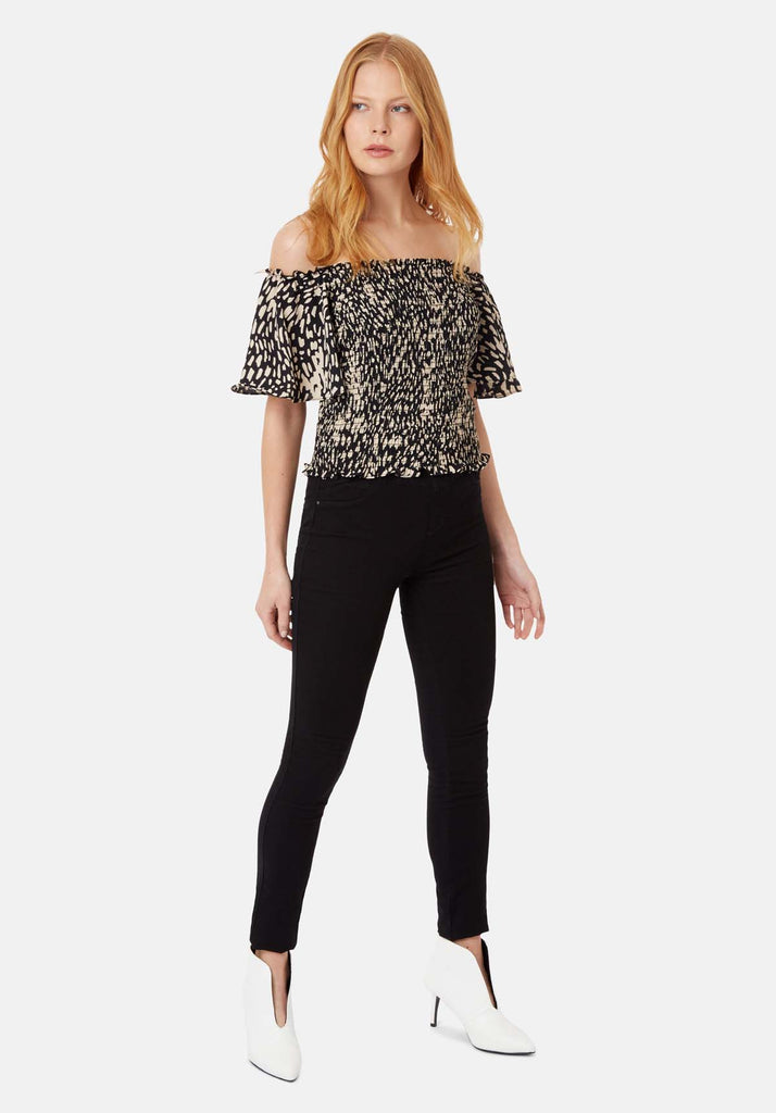 Traffic People Lolita Off the Shoulder Dot Top in Black Front View Image