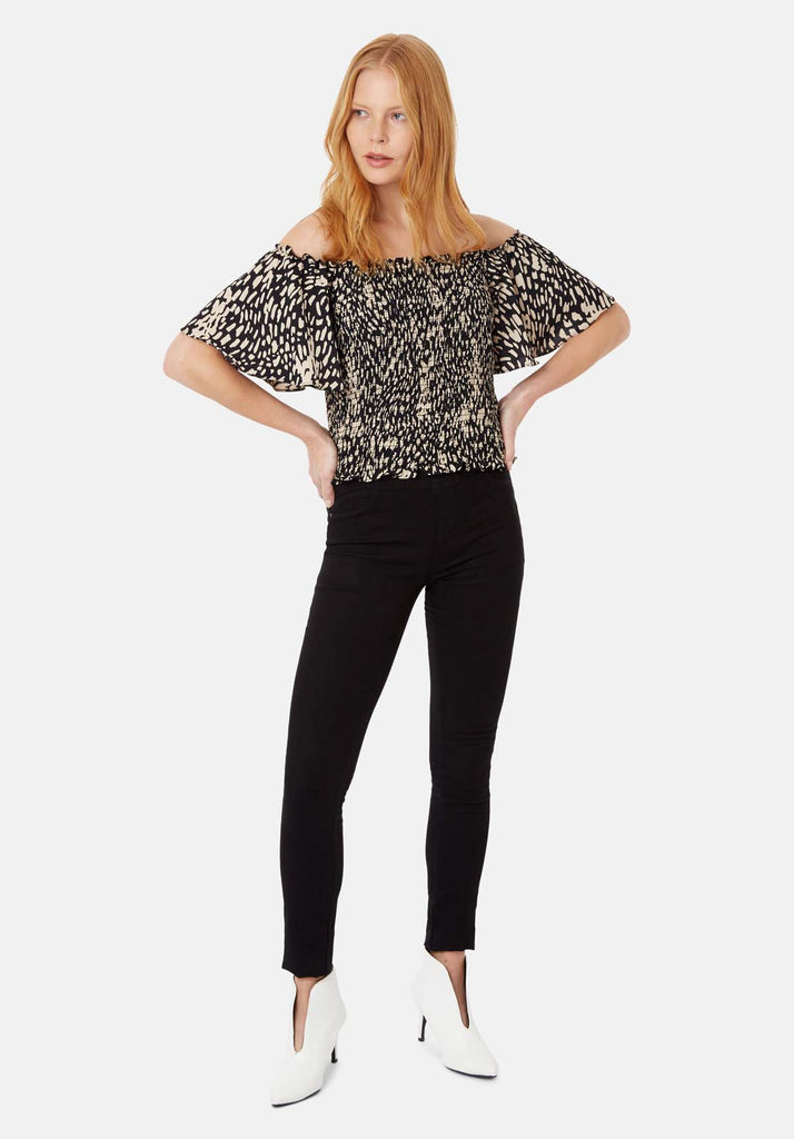 Lolita Off the Shoulder Dot Top in Black