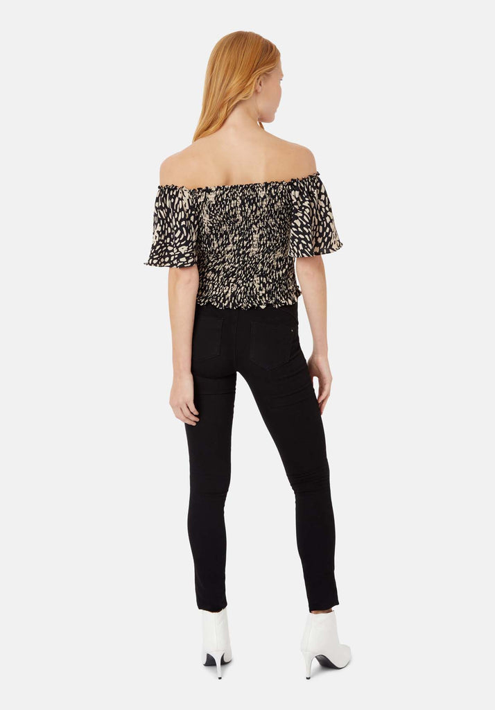Traffic People Lolita Off the Shoulder Dot Top in Black Side View Image