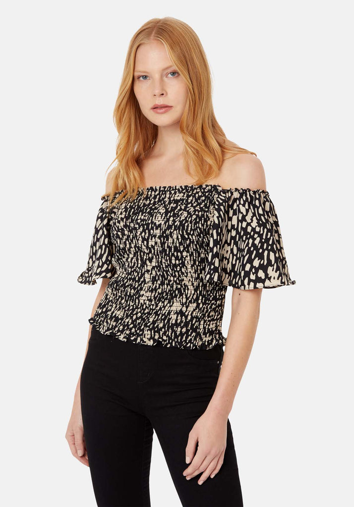 Traffic People Lolita Off the Shoulder Dot Top in Black Back View Image