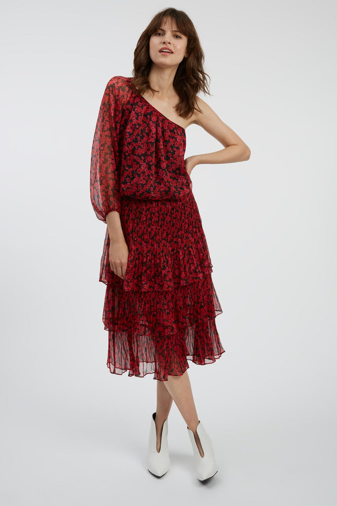 Traffic People Memory Floral Midi Dress in Black and Red Side View Image