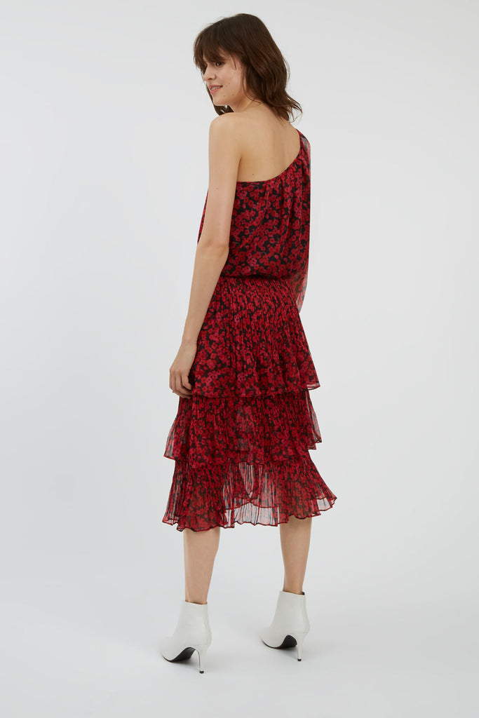 Traffic People Memory Floral Midi Dress in Black and Red Back View Image