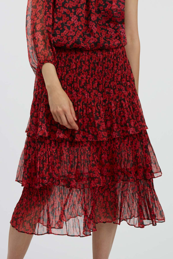 Traffic People Memory Floral Midi Dress in Black and Red Close Up Image
