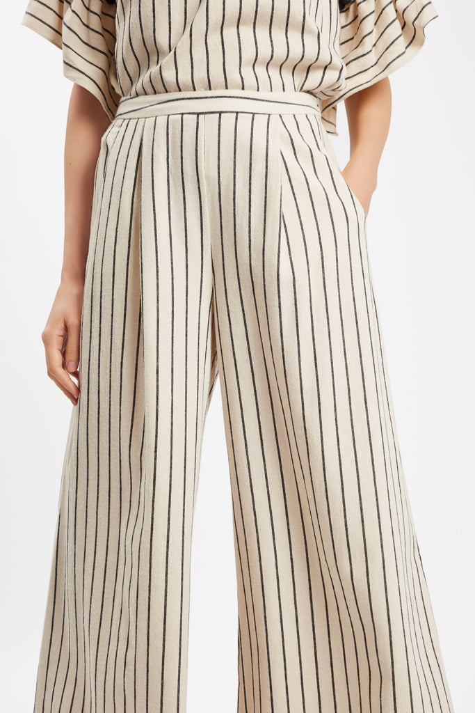 Traffic People Nervous Sailor Wide Leg Trousers in White Back View Image