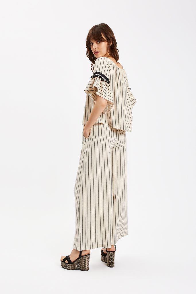 Traffic People Nervous Sailor Wide Leg Trousers in White Close Up Image