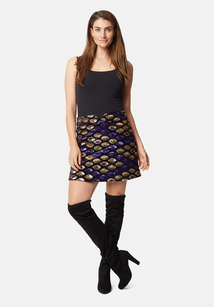 Traffic People Never Can Say Goodbye Sequin Mini Skirt in Black Side View Image