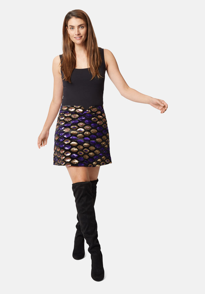 Traffic People Never Can Say Goodbye Sequin Mini Skirt in Black Close Up Image