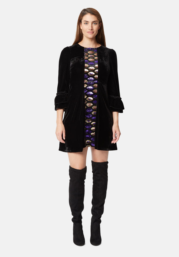Traffic People Never Can Say Goodbye Sequin Shift Dress in Black Side View Image