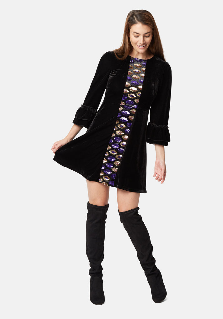 Traffic People Never Can Say Goodbye Sequin Shift Dress in Black Close Up Image