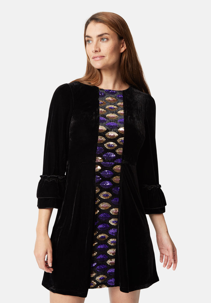Traffic People Never Can Say Goodbye Sequin Shift Dress in Black Front View Image