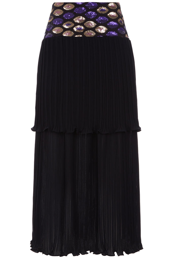 Traffic People Never Can Say Goodbye Tiered Pleated Midi Skirt in Black FlatShot Image