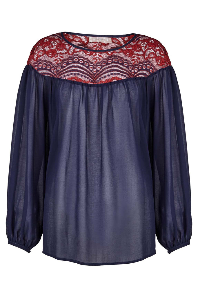 Traffic People Flare Lace Long Sleeve Top in Navy and Red Front View Image