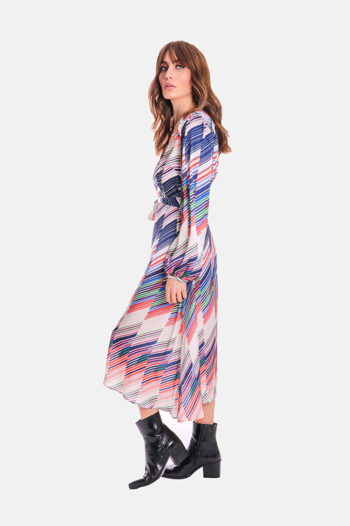 Traffic People V-neck Long Sleeve Carrie Dress in Geometric Print Side View Image