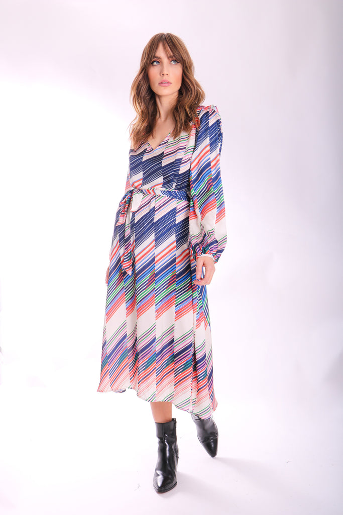 Traffic People V-neck Long Sleeve Carrie Dress in Geometric Print Front View Image