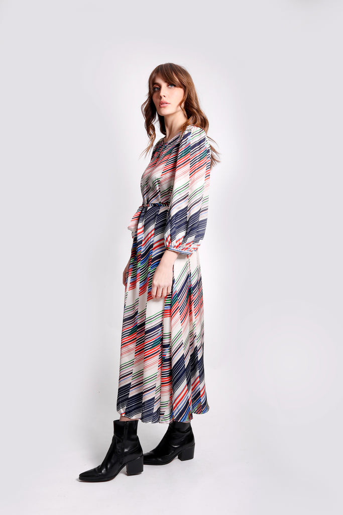 Traffic People Willow Midi Long Sleeve Dress in Geometric Print Back View Image