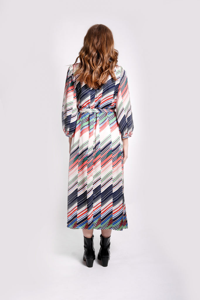Traffic People Willow Midi Long Sleeve Dress in Geometric Print Side View Image