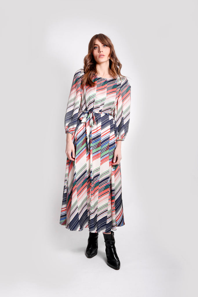 Traffic People Willow Midi Long Sleeve Dress in Geometric Print Front View Image
