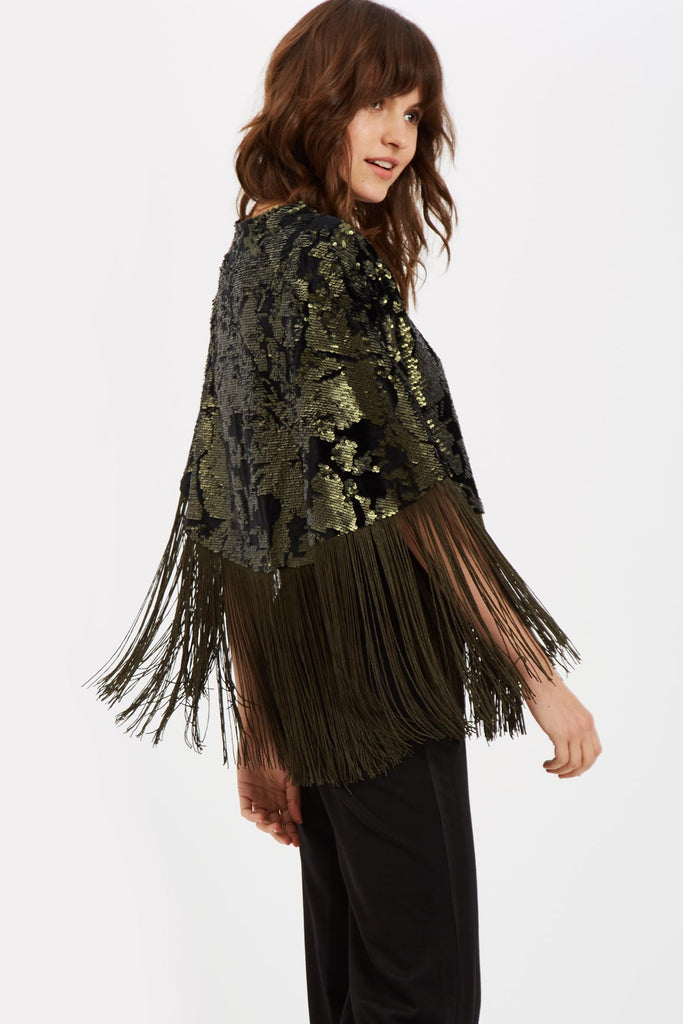 Traffic People Fringe Sequin Cape in Green Front View Image