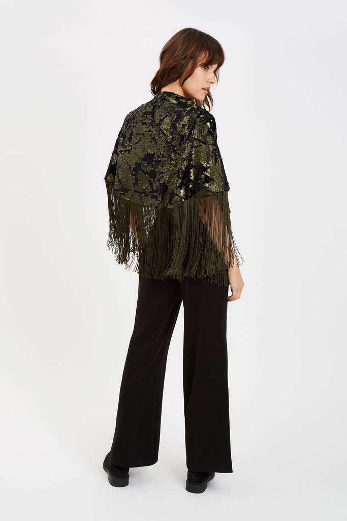 Traffic People Fringe Sequin Cape in Green Back View Image