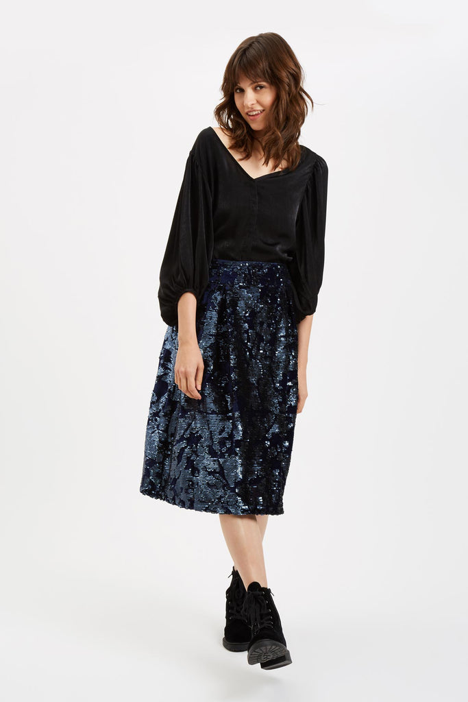 Traffic People Prom Sequin Midi Skirt in Navy Blue Front View Image