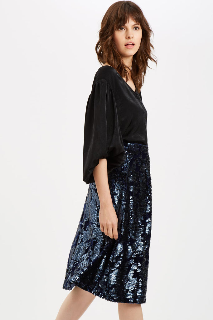 Traffic People Prom Sequin Midi Skirt in Navy Blue Side View Image