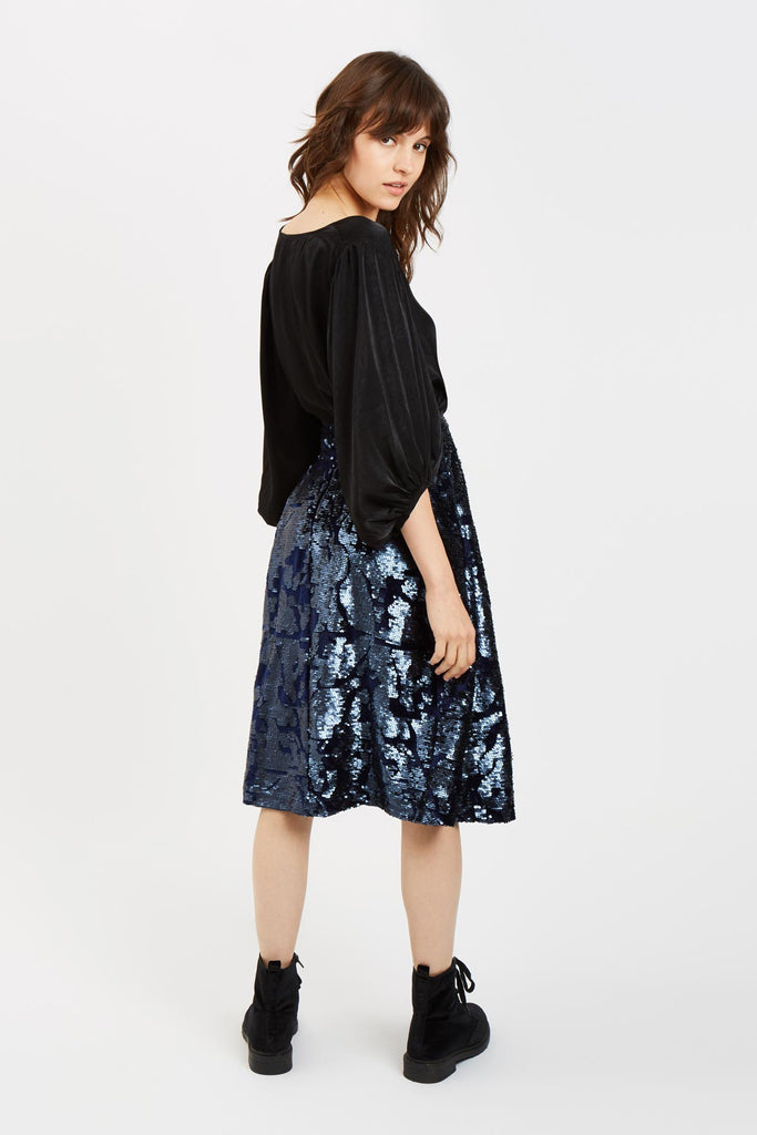 Traffic People Prom Sequin Midi Skirt in Navy Blue Back View Image