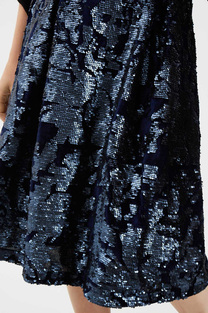 Traffic People Prom Sequin Midi Skirt in Navy Blue Close Up Image