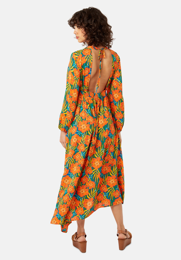 Traffic People Long Sleeve Multicoloured Floral Print Dalliance Midi Dress Side View Image