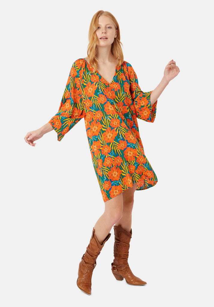 Traffic People Long Sleeve Moments Dress in Multicoloured Floral Print Front View Image