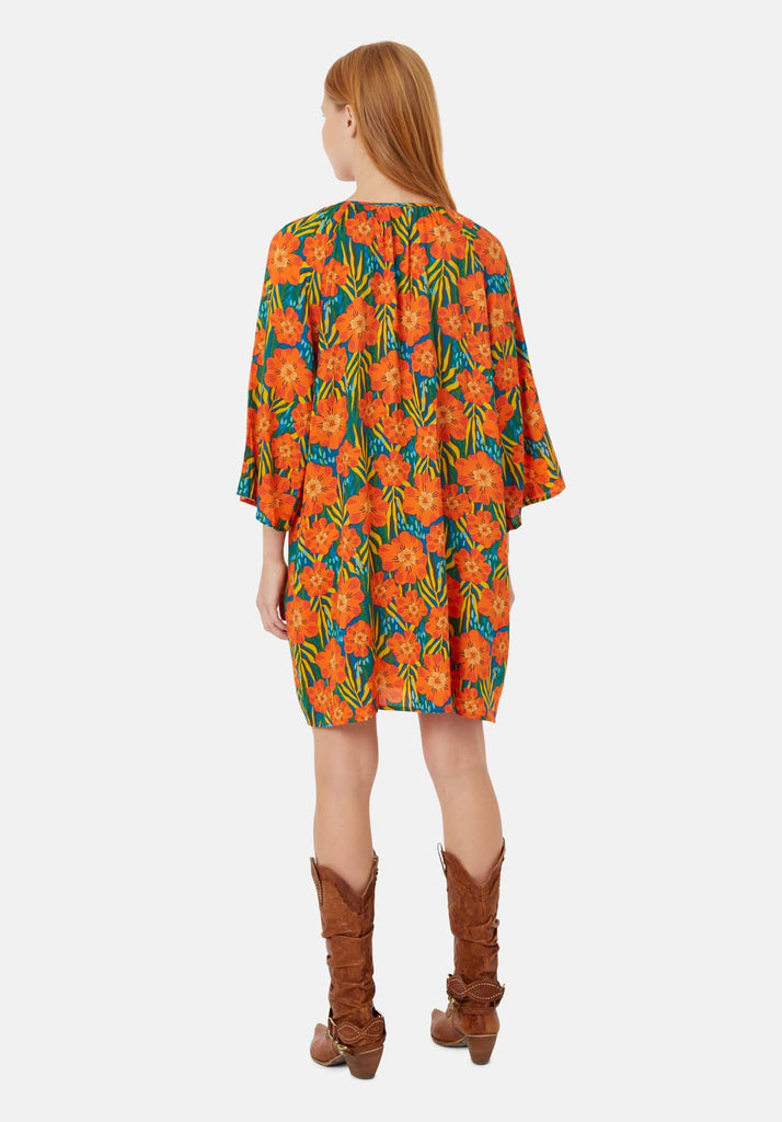 Traffic People Long Sleeve Moments Dress in Multicoloured Floral Print Side View Image