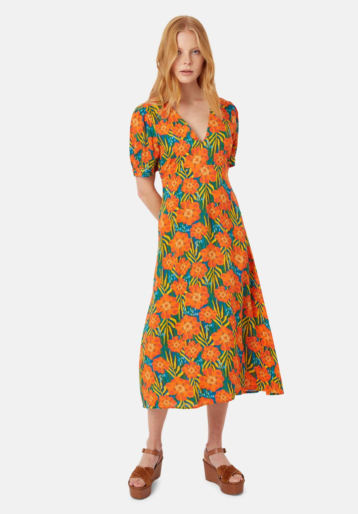 Traffic People Short Sleeeve Mia Midi Dress in Multicoloured Floral Print Front View Image