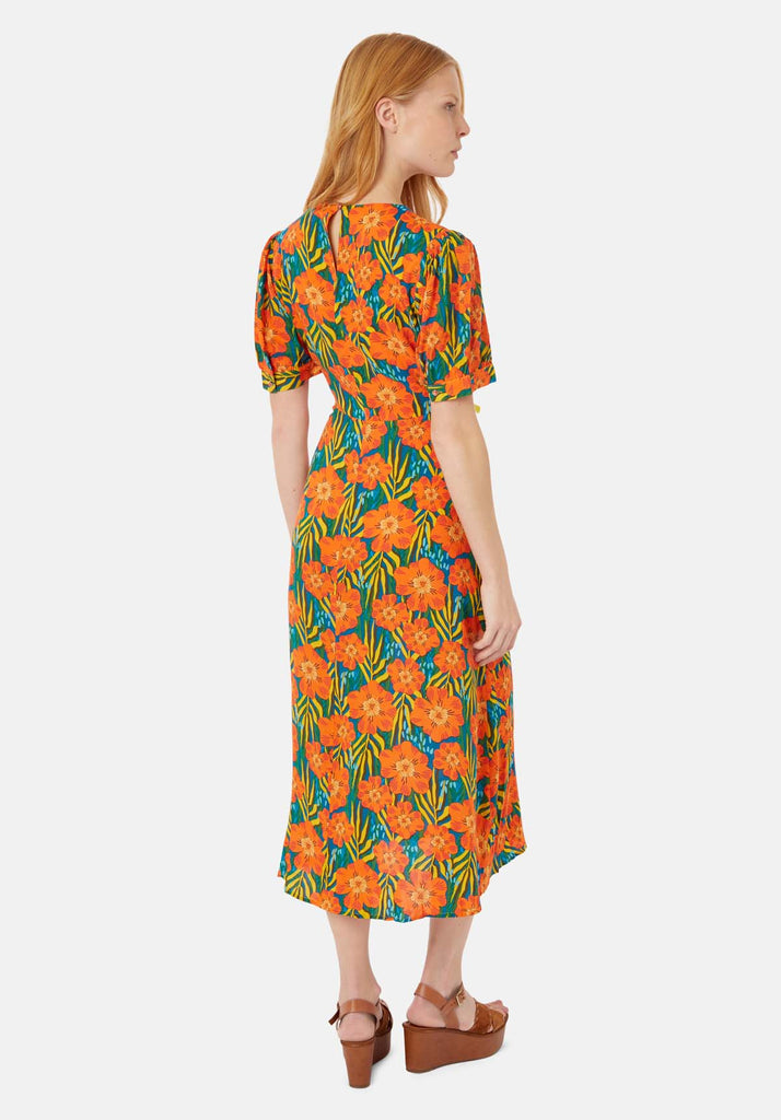 Traffic People Short Sleeeve Mia Midi Dress in Multicoloured Floral Print Side View Image
