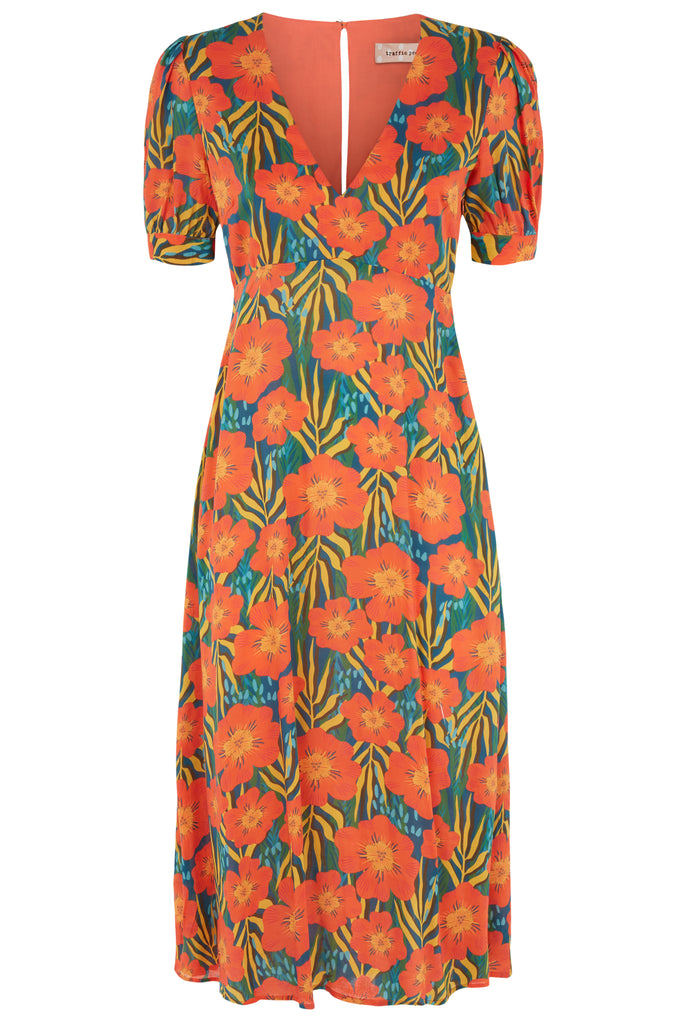 Traffic People Short Sleeeve Mia Midi Dress in Multicoloured Floral Print FlatShot Image